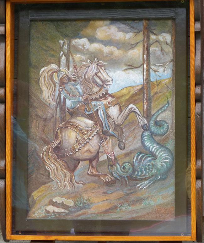 Das von der Alpkorporation Vorderschwändi  restaurierte Bild von St. Georg.