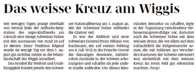 """Hans Speck, in: """"Glarner Nachrichten"""" (Südostschweiz-Glarus"""". (Foto: Hans Speck)"""