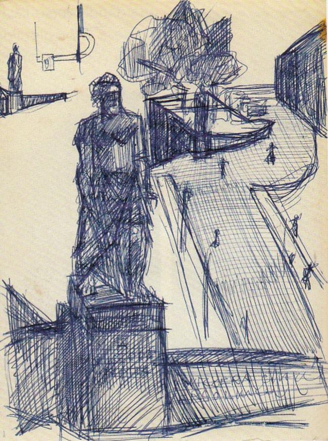 """Skizze von Remo Rossi für die Platzierung der Statue auf Aufgang zum Bahnhofplatz in Bellinzona  1943-57 (Foto: aus dem Kunstführer """"Sculture..."""")"""