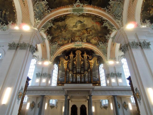 Blick gegen den Orgelprospekt.
