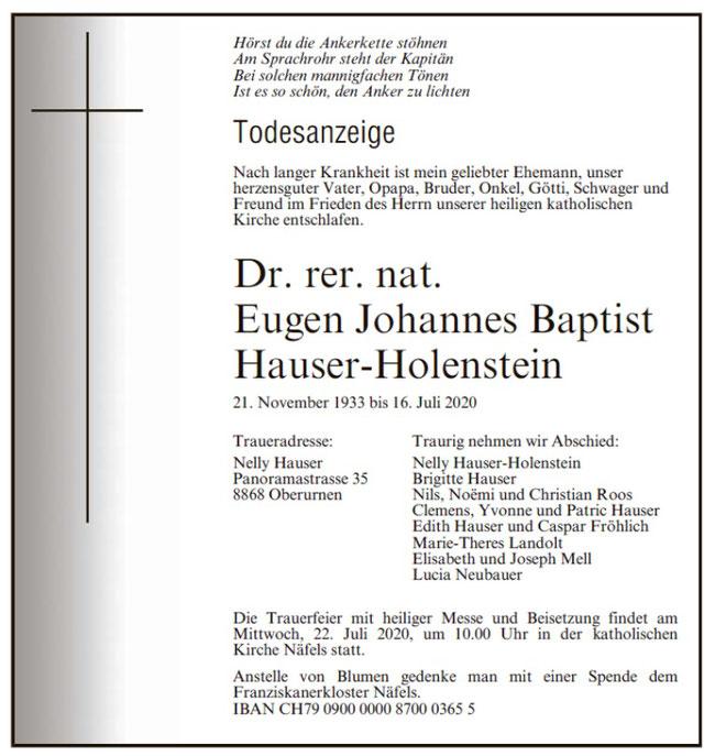 Todesanzeige Glarner Nachrichten / Südostschweiz-Glarus vom 18. Juli 2020