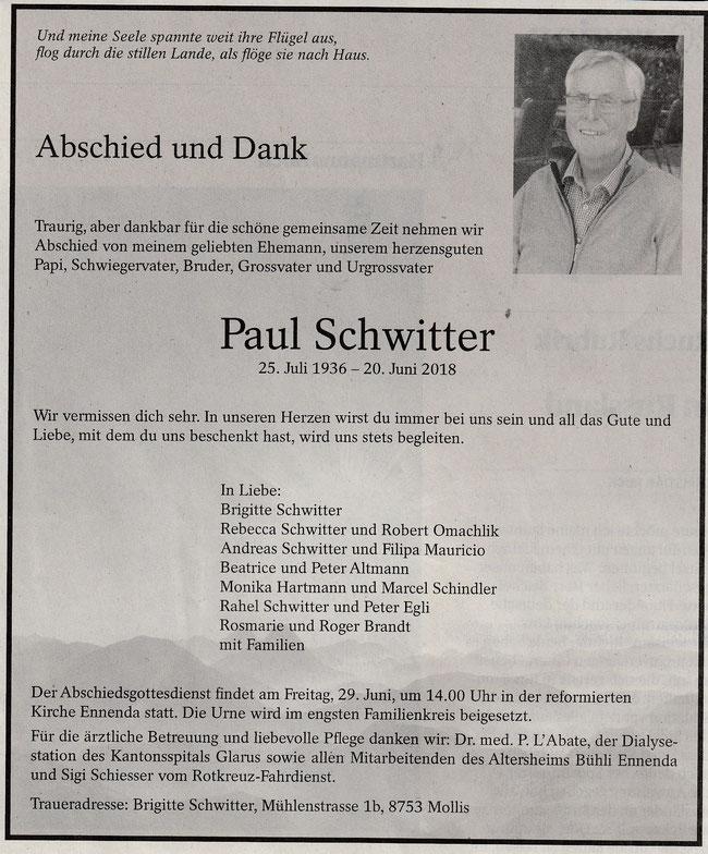 """Todesanzeige """"Südostschweiz Glarus Glarner Nachrichten Samstag, 23. Juni 2018"""