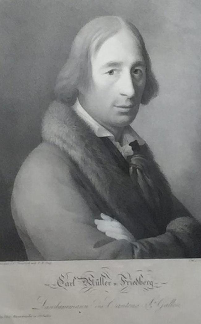 Gründervater des Kantons St. Gallen, der Exilnäfelser und ehemalige Vogt von Oberberg Karl Müller-Friedberg (Foto: Alfred Noser)