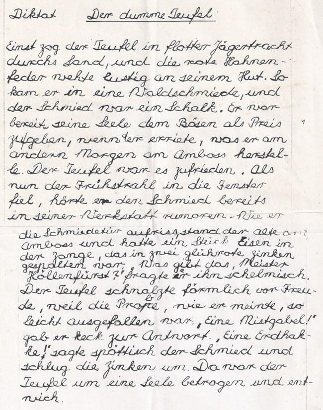 "Diktat Klosterschul.Aufnahmeprüfung. ""Diktator"" = P. Vergil Roshardt, OFMCap vulgo ""Habi"" nach ""Habakuk"""