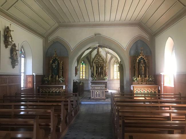 Inneres der Sebastiankapelle am alten Linthlauf