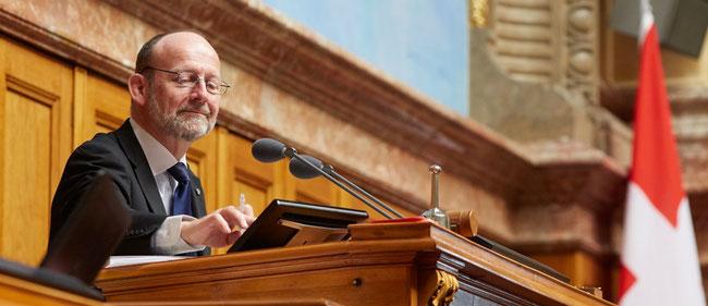 Nationalratspräsident Dominique de Buman 2018. Siehe sein Zitat unten.