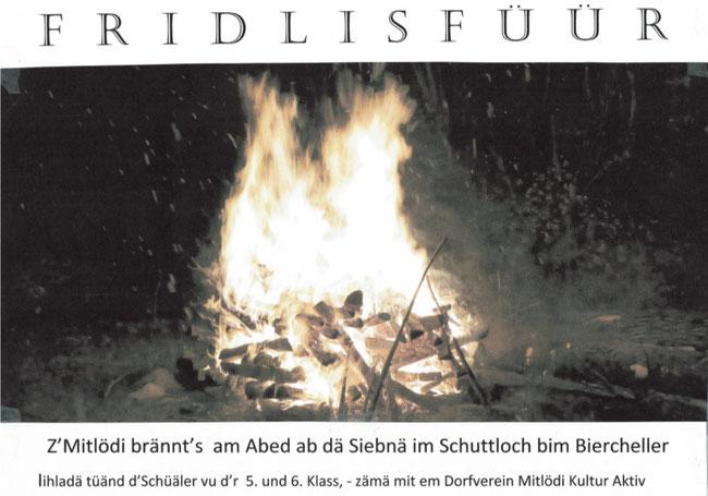 ... so laden die Fünft- und Sechstklässer mit dem Dorfverein Mitlödi Kultur Aktiv ein! Präsident ist Heiri Speich.