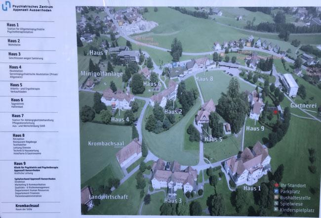 Übersichtstafel im heutigen Psychiatrischen Zentrum Appenzell-Ausserrhoden in Herisau
