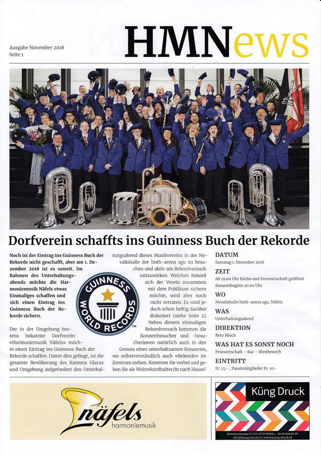 Flyer der Harmoniemusik Näfels unter der Leitung von Reto Bösch