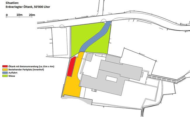 Situationsplan: Früher war auf diesem Gelände der stiebende Fussballplatz der Klosterschule und nordwärts (bei der heutigen Einfahrt)  der Schneckengarten des Klosters.
