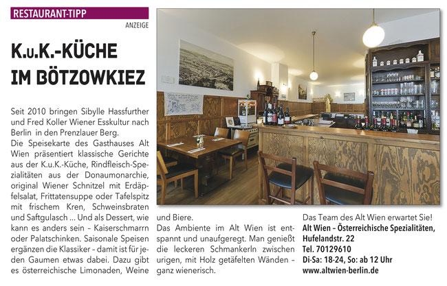 Restaurant Alt Wien Berlin Prenzlauer Berg