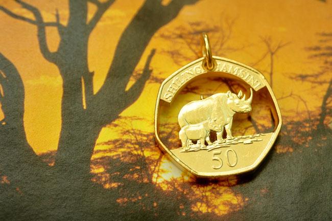 Münzsägewerk Katrin Thull | Tansania - Nashörner gold