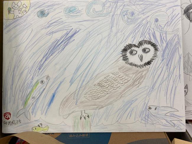 娘が描いたフクロウ