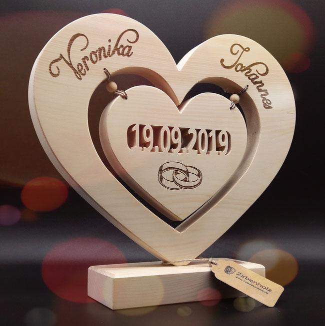 Großes ausgefallenes und originelles Geschenk aus Zirben Holz zur Hochzeit!