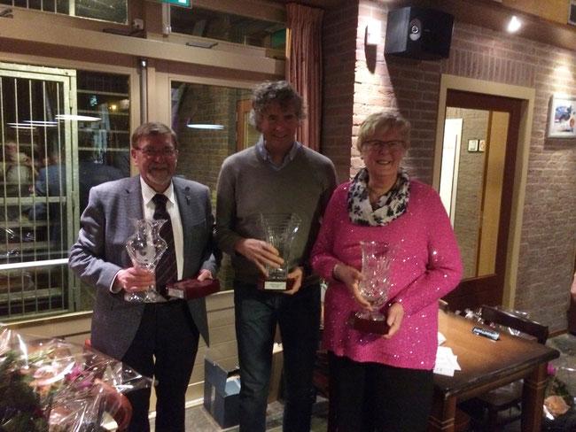 Kampioenen Brabantse Superleague 2018: Harry de Jong (2e), Ronald Geerdink (1e) en Martha van Geel (3e)