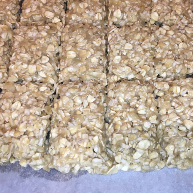 Oat Bars - cutting before cooking