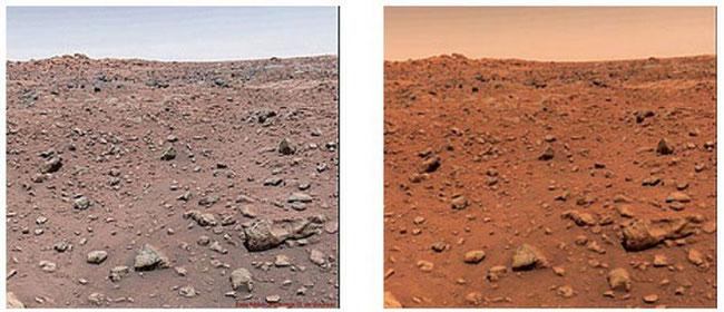 слева настоящий Марс, справа с подкрученными красным цветом