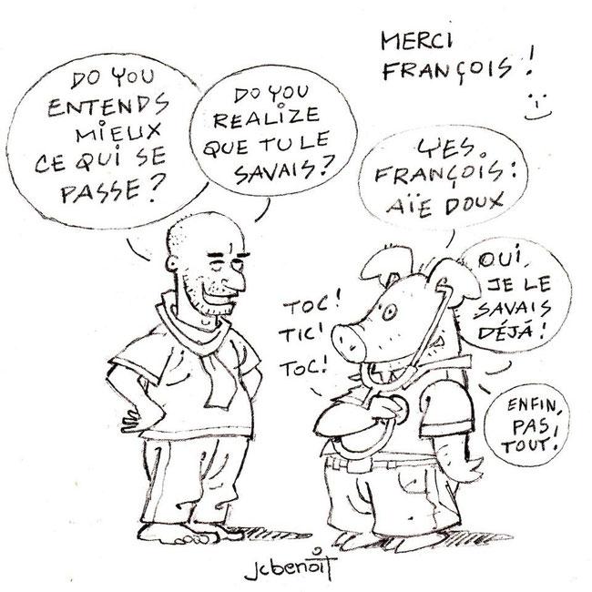 Merci à Jean Benoit et à Edmond le cochon pour ma caricature. En cliquant sur leur dessin, vous accèderez directement à leur page publique sur Facebook.