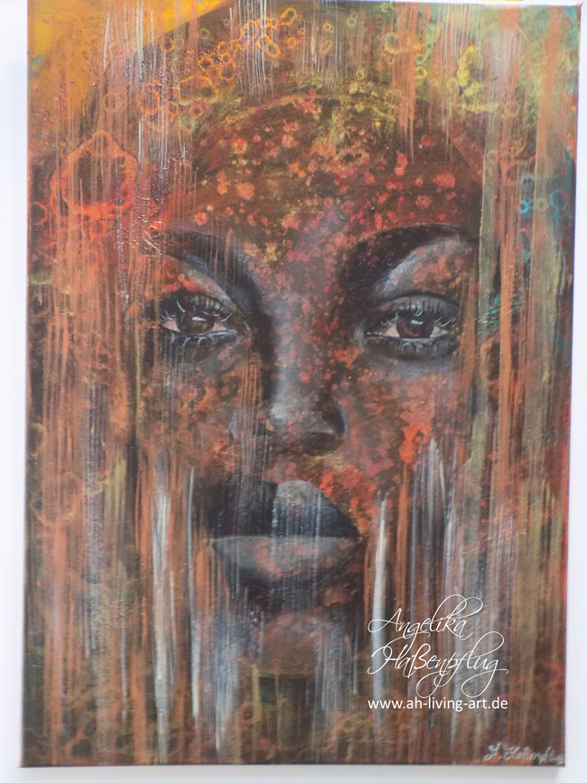Abstrakte schwarze Frau Bild Malerei, Angelika Haßenpflug, Living Art, auftragsarbeit Acryl Öl