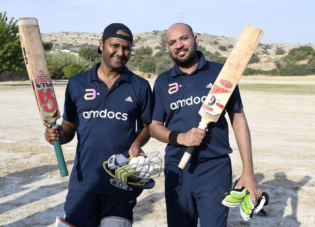 Batting heroes Riyaz Kajalwala and Gupta Ankit after steering Amdocs to an unlikely win