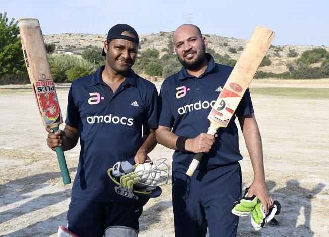 Batting heroes Riyaz Kajalwala and Gupta Ankit after steering Amdocs to an unlikely win