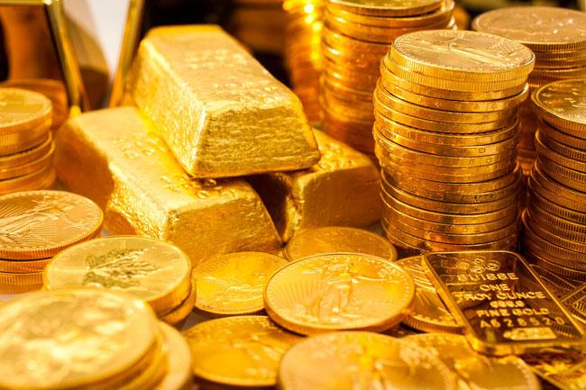 Gold Bullion als Großbarren oder Kleinbarren als auch Münzen