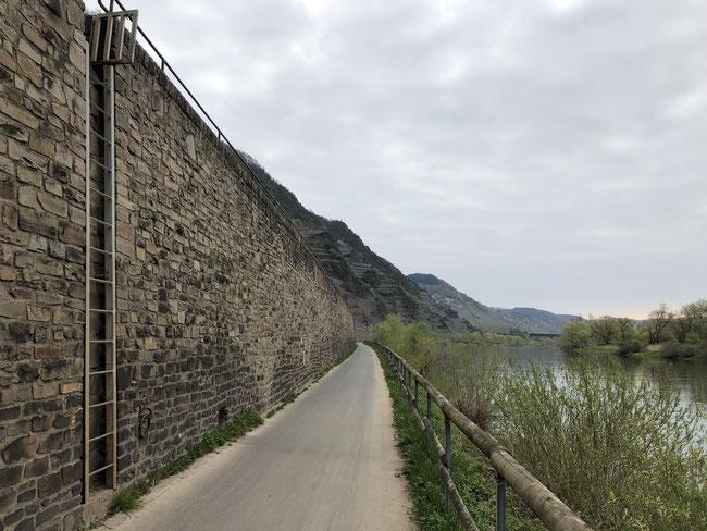 Radweg mit Fluchtweg bei Hochwasser
