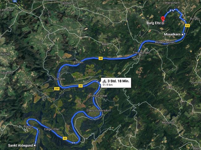 Radroute Sankt Aldegund - Burg Eltz