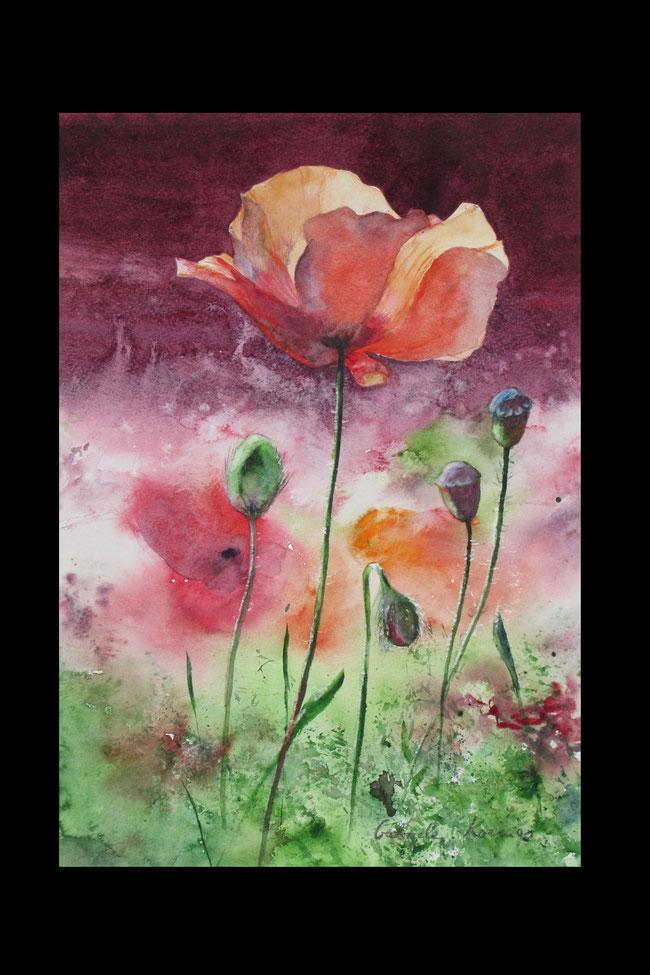 Blütenpracht. Aquarell (2020). 26 cm x 36 cm. Als Originalbild erhältlich