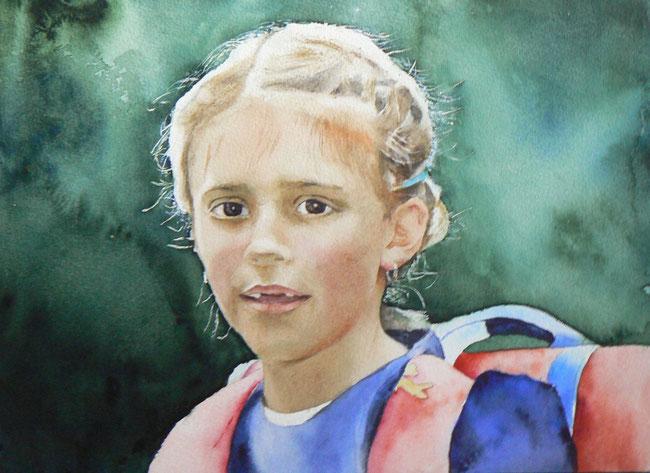 Schulkind. Aquarell (2014). 36 cm x 26 cm