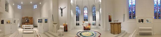 Panoramabild aus meiner Ausstellung in der Auferstehungskirche Überlingen
