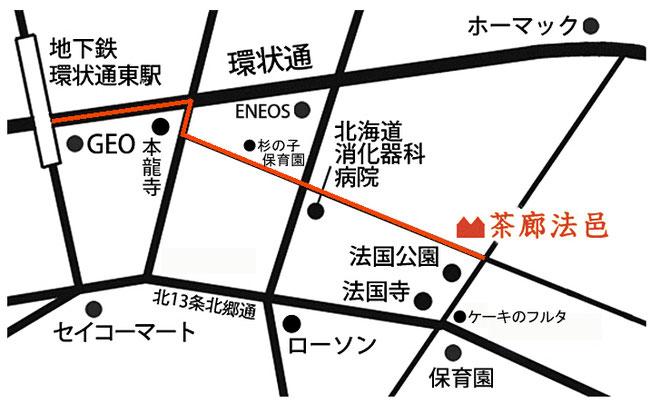 茶廊法邑までのマップ