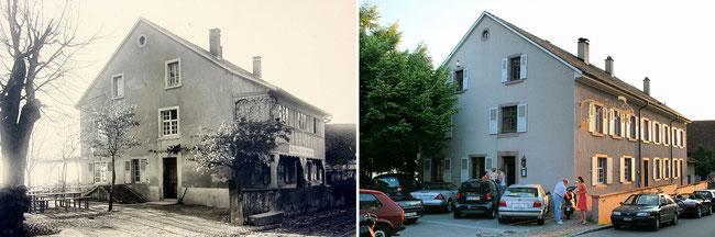 Früher und heute. Das Gasthaus zum Ochsen in Weil am Rhein - Ötlingen im Dreiländereck.