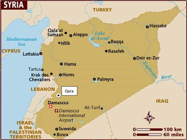 Notre village de Qara est situé à la frontière Libanaise, sur l'autoroute entre Homs et Damas.