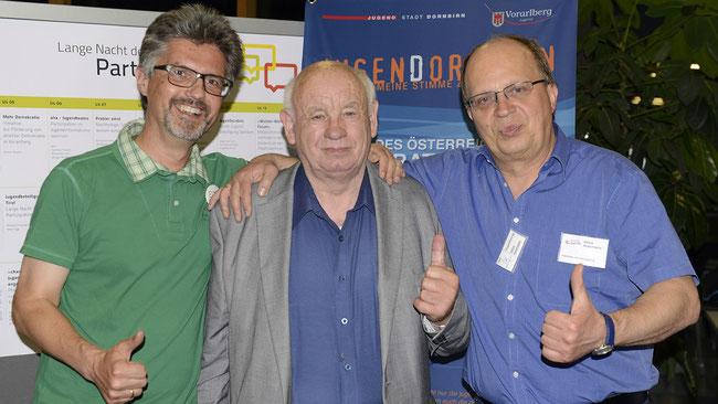 Elmar Luger (Jugendamt Dornbirn), Rudi Struck (Jobpate Bündnis für Augsburg), Ulrico Ackermann (Projekt change in Freiwilligen-Zentrum Augsburg) (v. l. n. r.) - Foto: Freiwilligen-Zentrum Augsburg