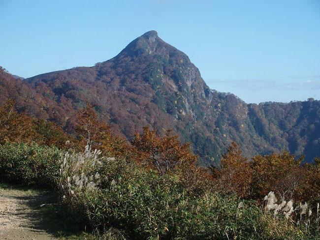 登山口の冠峠から端正な冠山を望む