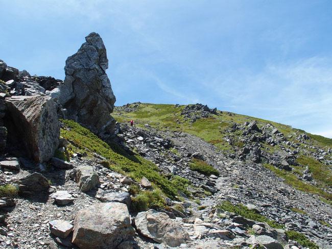 なだらかな丘陵の先が3000mを超す中白根山です。