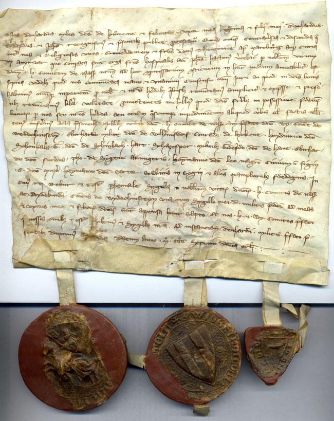 Urkunde  A2 Marburg Deutsch-Orden 1307, Februar 26 (Foto: Hessisches Staatsarchiv Marburg)
