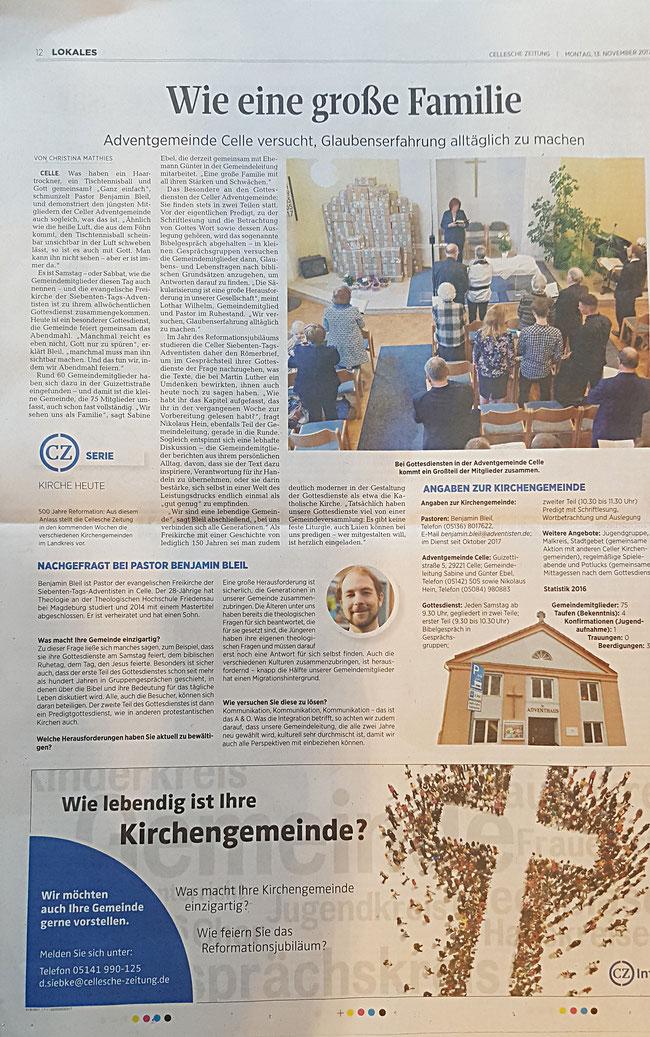 Kirche Gemeinde stellt sich vor lebendige Gemeinde Cellesche Zeitung Artikel