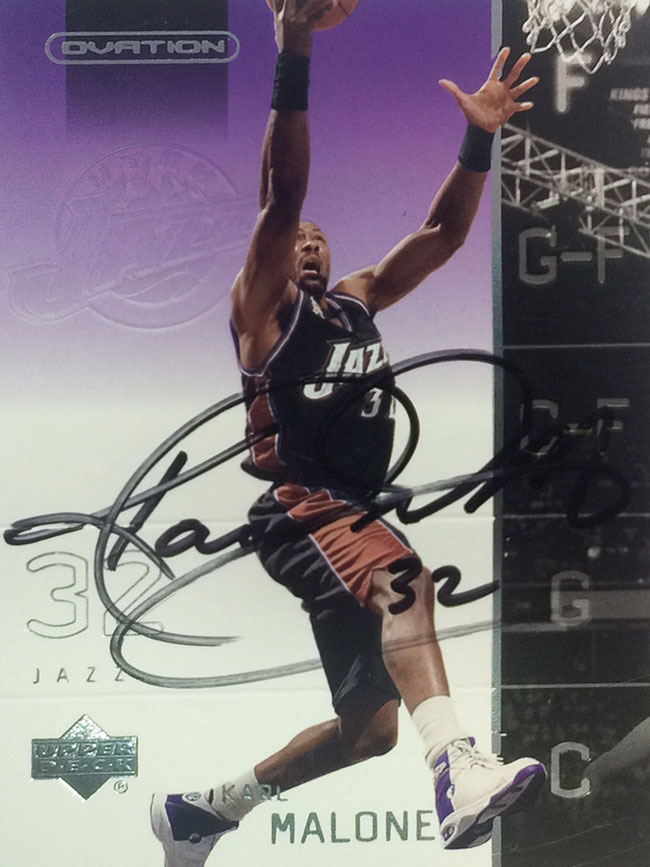 Karl Malone 'the mailman', 14 times All Star Game, 2 Olympic Gold Medals, played for Utah Jazz 1985-2003 and L.A. Laker 2003-2004, Autograph bought