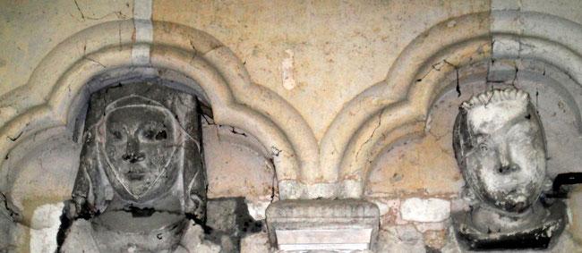 Têtes sculptées visibles à l'intérieur de la cathédrale d'Amiens (Photo B. Bréart)