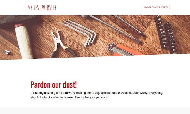 Ejemplo de página web con modo de página en construcción activado.