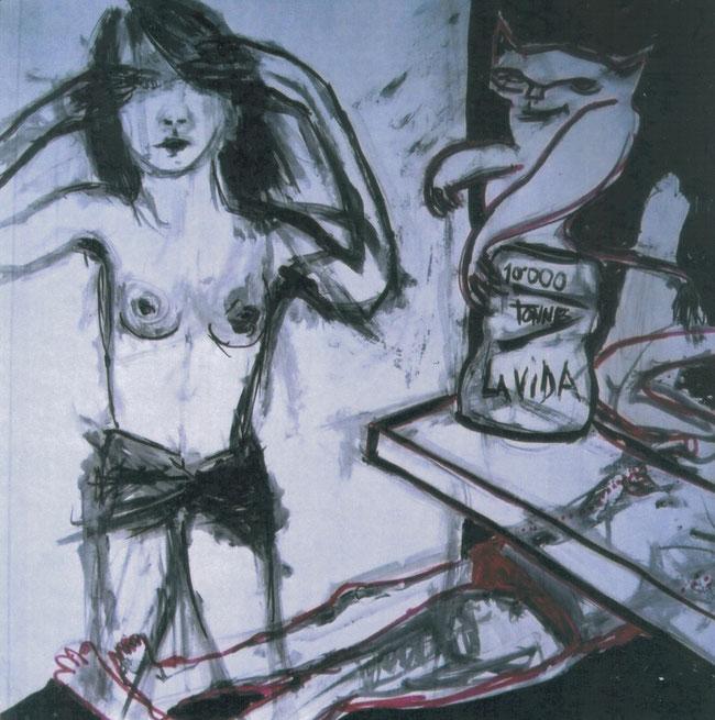 Diable de vie / 2002 / Acrylique, markers et craies sur papier / 50x50 cm