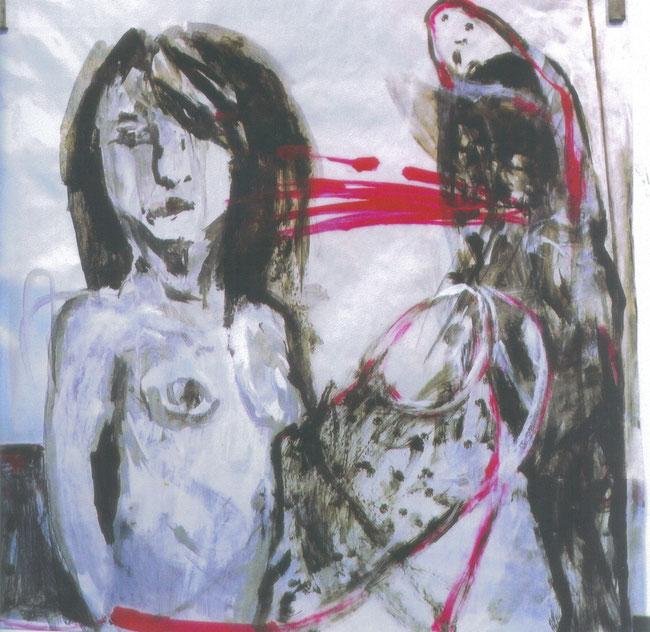 Les mots / 2002 / Acrylique, markers et craies sur papier / 50x50 cm / collection particulière