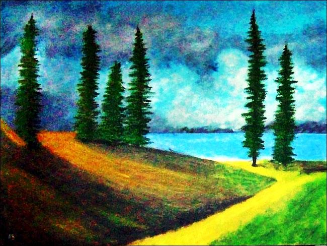 Landschaft-ÖlmalereiSee-Weg-Hügel-Wiese-Bäume-Fichten-Himmel-Wolken-Ölbild-Ölgemälde-Landschaftsmalerei