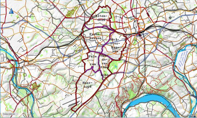 Karte des Stadtbezirks III mit den zugehörigen Stadtteilen