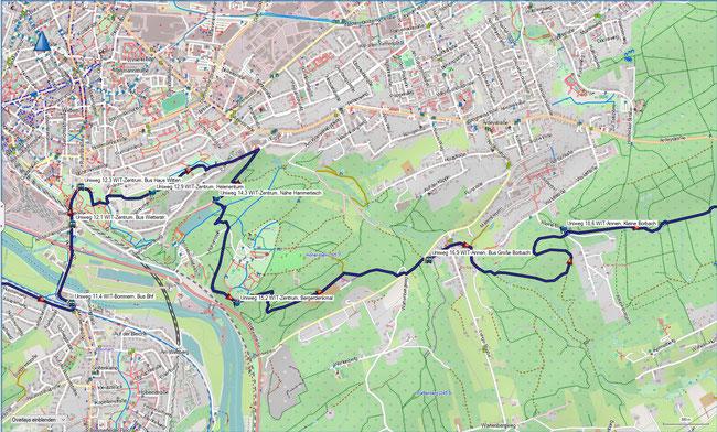 U Universitätenweg Detailkarte 3  Witten-Zentrum - Witten-Annen, Kleine Borbach