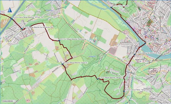 Rund um Mülheim, Karte 4 E-Kettwig, Kläranlage - Ratingen-Breitscheid-Mintarder Berg