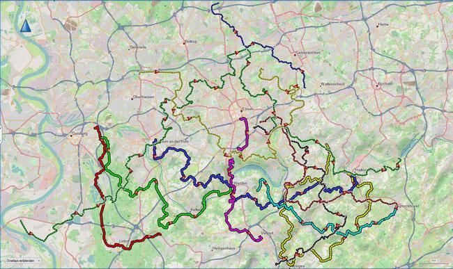 Übersicht Bezirkswanderwege Untere Ruhr