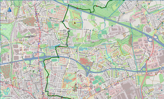 Raute Katzenstein - Gysenbergpark Karte 5 BO-Innenstadt - BO-Riemke